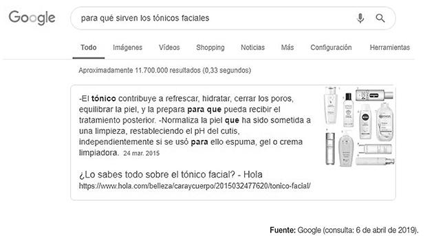 Ejemplo de caja de respuestas de Google al realizar una búsqueda concreta